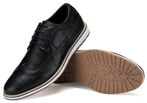 Mens Casual Shoes Classic Wingtip Oxford Business Dress Shoes for Men – in A Shoe Bag Black
