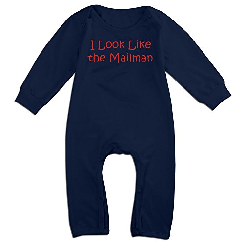 Costume Baby Mailman (OLGB Newborn I Look Like The Mailman Long Sleeve Romper Bodysuit 6)