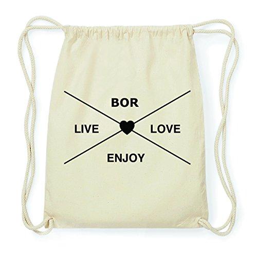 JOllify BOR Hipster Turnbeutel Tasche Rucksack aus Baumwolle - Farbe: natur Design: Hipster Kreuz