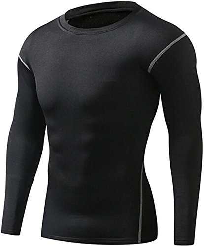 Mens Compression Tops Tight Shirts Keep Warm Workout Breathable Long Sleeve Shirt