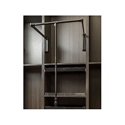 Hardware Resources 1523SC 23 Inch Wide Pull Down Closet Rod With Soft  Close, Black
