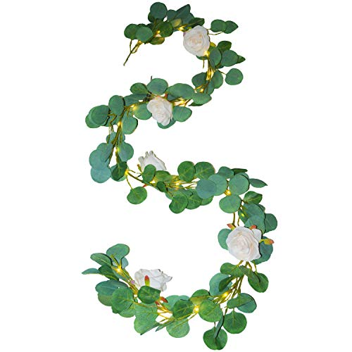 FLCSIed Artificial Eucalyptus Garland with Champagne Roses 25 LEDs String Lights Greenery Garland Eucalyptus Leaves Fairy Lights Wedding Backdrop Wall Decor (with Timer Function)