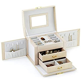 Jewelry Box - Multifunctional Portable Travel Jewelry Storage Case with 2 Drawers 2 Sides Hook Storage Top Mirror and Metal Lock - Beige