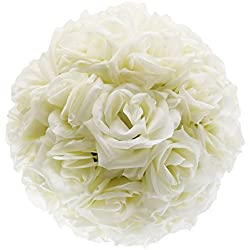 DGQ 10 Inch Ivory Satin Flower Ball for Bridal Wedding Artificial Wedding Party Ceremony Decoration