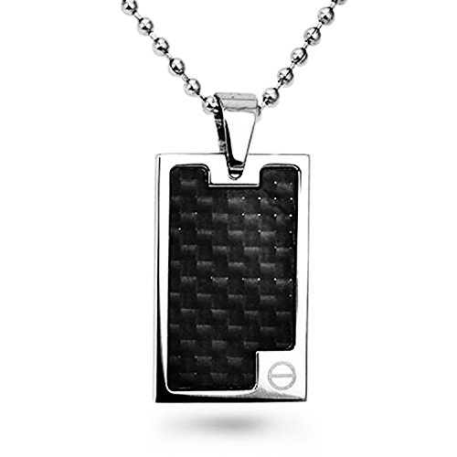 Stainless Steel Black Carbon Fiber Inlay Rectangle Dog (Inlay Rectangle Pendant)