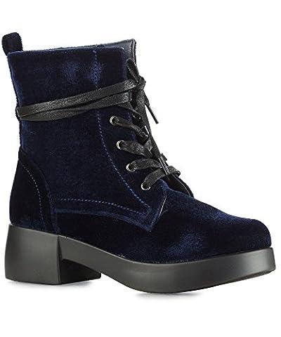 RF Women's Vegan Velvet Lace Up Platform Heel Combat Boots - NO01 NAVY (8) - Footwear Combat Boots