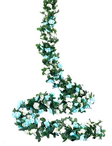 Miracliy 5 Pack 41 FT Fake Rose Vine Flowers Plants Artificial Flower Hanging Rose Ivy Home Hotel Office Wedding Party Garden Craft Art Décor (Blue & White)
