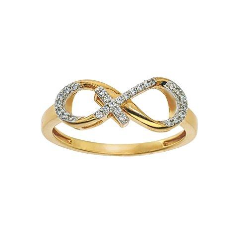 - Diamond Infinity Cross Ring in 10Kt Yellow Gold