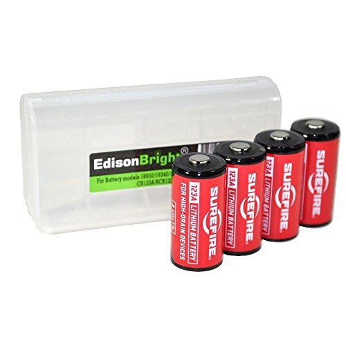 Sf123a 3v Lithium Battery (4 Pack SureFire CR123A lithium batteries (Made in USA) SF123A with EdisonBright BBX3 battery carry case bundle)