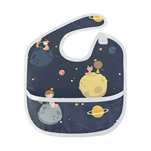 DJROW Petit Prince Space Baby Bib Waterproof Washable Stain and Odor Resistant fits 6-24 ()