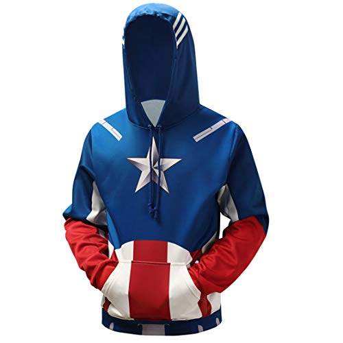 WKDFOREVER 3D Captain Fashion Cosplay Hoodie Jacket Costume (X-Large, Captain 3)