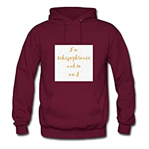 Burgundy Customized Im_schizophrenic Women Funny Hoodies X-large