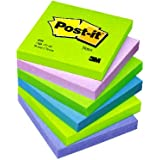 Post-it Notes - Cool Neon Rainbow - Neon Green, Neon Purple, Retro Green, Klippan Blue, Periwinckle Blue - 6 Pads Per Pack - 100 Sheets Per Pad - 76 mm x 76 mm