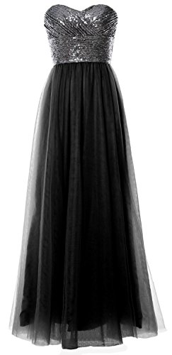 MACloth Wedding Gown Sequin Bridesmaid Strapless Long Black Women Party Formal Gray Dress 1nqAHr1cTw