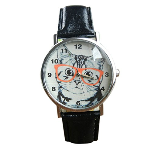 Women's Watch Cat Pattern Leather Band Analog Quartz Vogue (Black) (Map Watch World Mk)