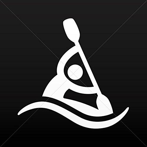 Stickers Decal Canoe Kayak Figure Car door Hobbies Sports car Durable White (4 X 3.96 In)
