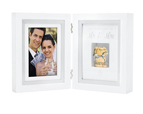 Pearhead Creative Wedding Gift, Our First Toast as Mr. & Mrs. Wedding Cork Keepsake Shadowbox Frame Displays One 4'' x 6'' Photo & One Cork, White by Pearhead