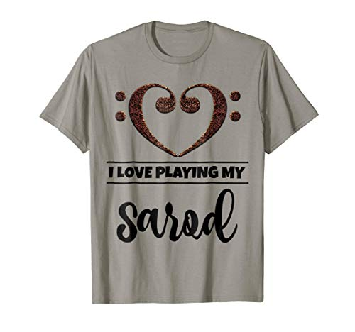 Double Bass Clef Heart I Love Playing My Sarod Music Lover T-Shirt