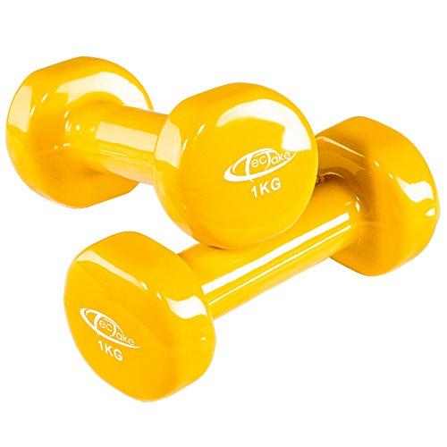 TecTake Conjunto de mancuernas de vinilo pesas aerobic | Superficie antideslizante | Varios modelos (1kg | amarillo | no. 402357): Amazon.es: Deportes y ...
