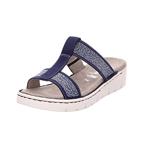 Jenny Damen Korsika Blaue Lederimitat Pantolette Blau Glitzer