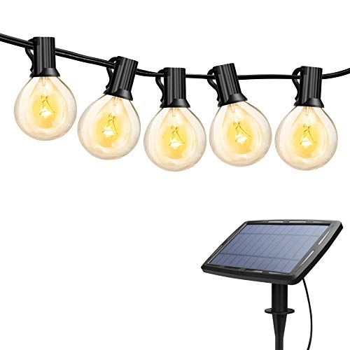 Torkase 27ft Solar Powered Globe LED String Lights, 27 x G40 Edison Bulbs, 25 x Dropped E12 Socket, 4400mAh Lithium Battery, Hanging String Lights for Indoor & Outdoor Decor & Illumination (Best Solar Pool Covers 2019)