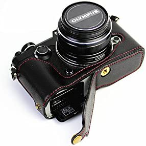 Bottom Opening Version Protective Genuine Real Leather Half Camera Case Bag Cover with Tripod Design for Olympus PEN-F Camera with Genuine Real Leather Hand Strap Black