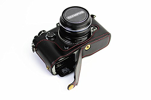 Bottom Opening Version Protective Genuine Real Leather Half Camera Case Bag Cover with Tripod Design for Olympus PEN-F Camera with Genuine Real Leather Hand Strap - Olympus Protective Case