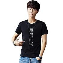 Faston メンズ Tシャツ 半袖 プリント Tシャツ 無地 クルーネック カ...