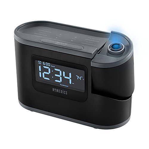 Recharged Alarm Clock & Sound Machine | Temperature Sensor, 8 Soothing Sleep Sounds, LCD Display, Time Projection, Auto-Off Timer, Smartphone Holder | 6-in-1 Device, Sleep Better | SoundSpa HoMedics