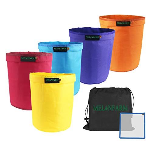 MELONFARM Bubble Bags 5-Gallon 5-Bag Set - Herbal Ice Bubble Hash Bag Essence Extractor Kit - Free Pressing Screen & Storage Bag -