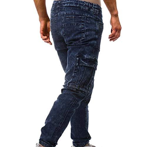 Vintage Uomo Blau Jeans Lunghi Classiche Da Casual Pantaloni Elasticizzati Ragazzi tXwpnqfpx