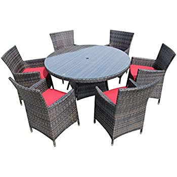 Amazon.com: 7pc All-Weather Wicker Outdoor Patio Dining Set w/ 60 ...