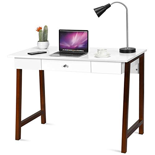 Tangkula Computer Desk, Makeup Vanity Table, Desk with Storage Drawers, Writing Study Desk for Home Office, Dressing Table (White & Brown) (Drawers With Tables Writing)