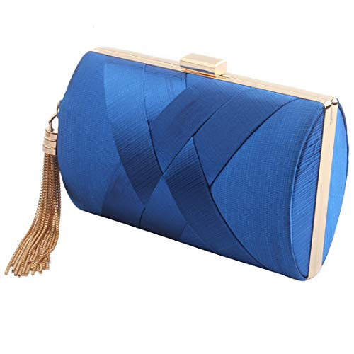 Women's Elegant Tassel Pendant Silk Evening Bag Clutch Purse for Bride Wedding Prom Night Out Party (BLUE)