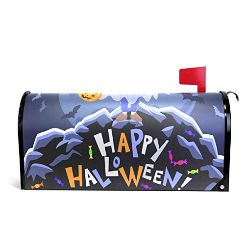 Mailboxcoverfhiw Ghost with Pumpkin Halloween Magnetic Mailbox Cover Standard Size 6.5
