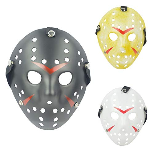IronBuddy 3Pcs Jason Hockey Mask Costume Mask Prop for Cosplay Masquerade Party