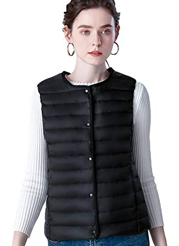 (Itemnew Woman Cute Crew Neck Snap Button Ultra Lightweight Puffer Down Waistcoat Vest Jacket (X-Large, Black))