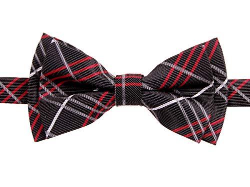 Retreez Tartan Plaid Styles Woven Microfiber Pre-tied Boy's Bow Tie - Charcoal Black - 4 - 7 ()