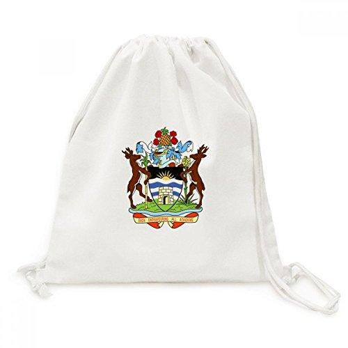 Saint John's Antigua & Barbuda Emblem Canvas Drawstring Backpack Travel Shopping Bags