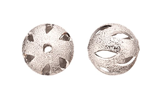 (Brass Bead, Rhodium-Finished Stardust with Marquise Cut Out, 14mm Round sold per pack of 4 (3pack bundle), SAVE $2)