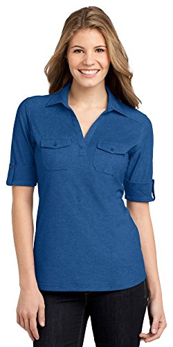 Shirt Oxford Golf Pique - Port Authority Ladies Oxford Pique Double Pocket Polo, Marina Blue/ True Navy, Medium