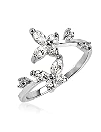 Sterling Silver Clear CZ Butterfly Adjustable Toe Ring 1.4 Grams of 925 Sterling