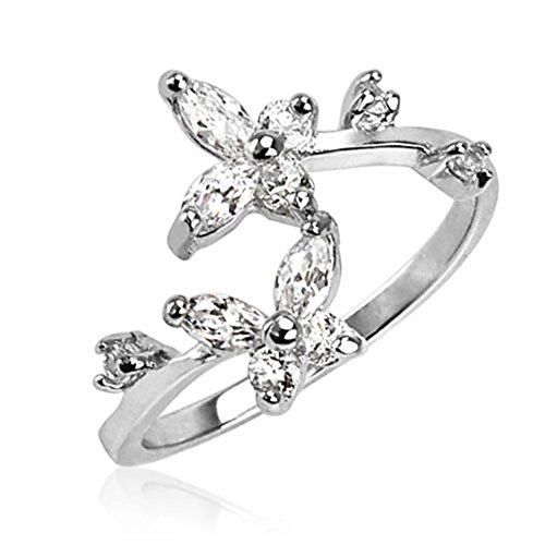 Sterling Silver Clear CZ Butterfly Adjustable Toe Ring 1.4 Grams of 925 (Butterfly Silver Toe Ring)