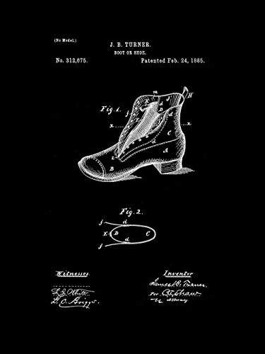 (Framable Patent Art Original Footwear Shoe Boot 18in by 24in Patent Art Poster Print Vintage Black PAPSP112VB)