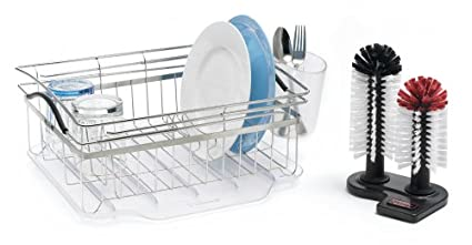 Amazon Com Polder Kth 200 Compact Dish Rack With Glass Washer