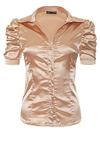 s Beige Beige Laeticia manches xXL satin en m col femme courtes avec xS chemisier neuf chemise tailles l pour xL dreams x6xHwA