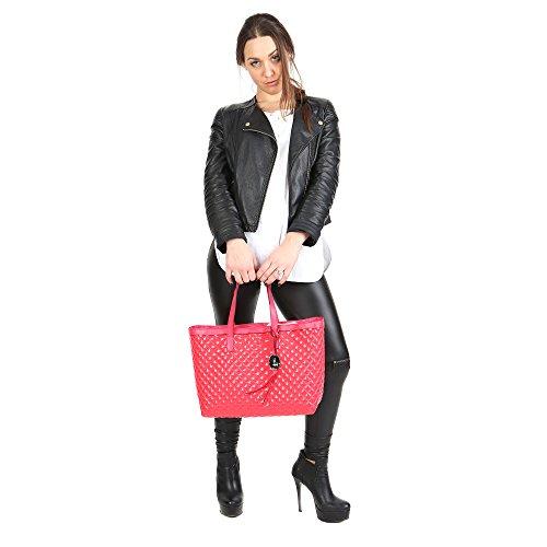 Mano Sintetica con Trussardi pelle rifiniture Donna 66B400K124 Corallo in Jeans Shopping a da Linea Borsa qxYSxt