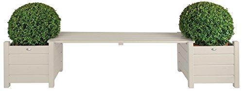 (Esschert Design Planters with Bridge Bench, White)