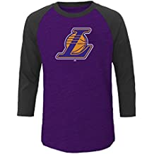 NBA Los Angeles Lakers Men's Big & Tall Team 3/4 Sleeve Slub Jersey Crew Tee, 2X/Tall, Purple Heather/Chafe