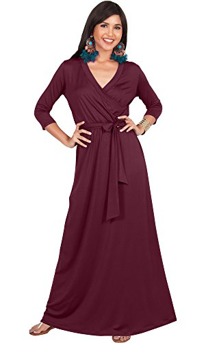 5ae09c5739dcf KOH KOH Womens Long 3/4 Half Sleeve Sleeves Flowy V-Neck Casual Fall Winter Empire  Waist Evening Cute Full Floor-Length Gown Gowns Maxi Dress Dresses, ...